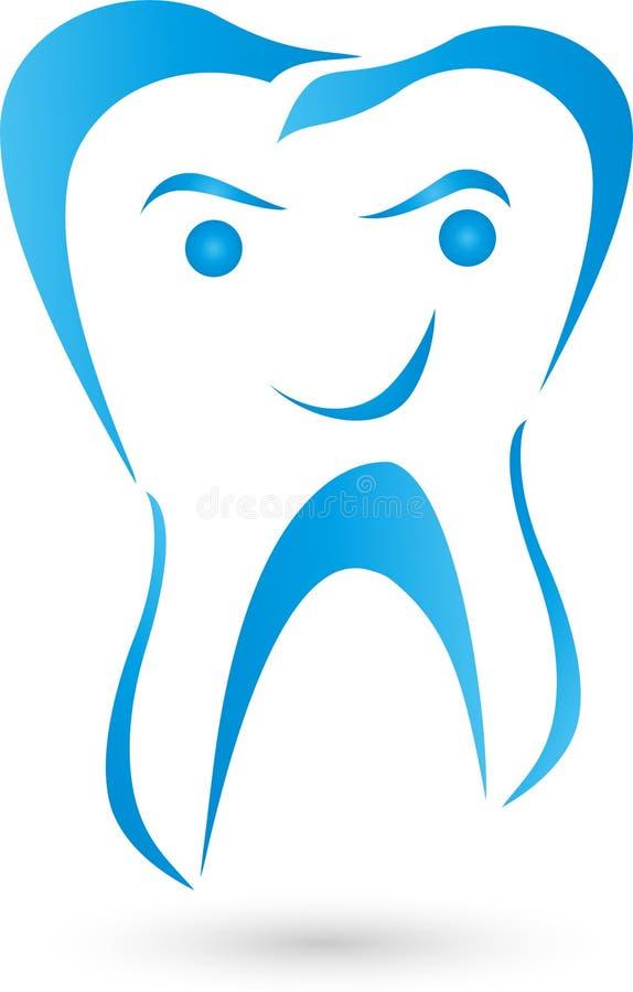 Dente com logotipo da cara, do sorriso, do dentista e do dente ilustração stock