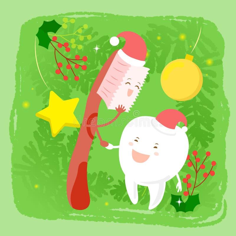 Dente com Natal ilustração stock