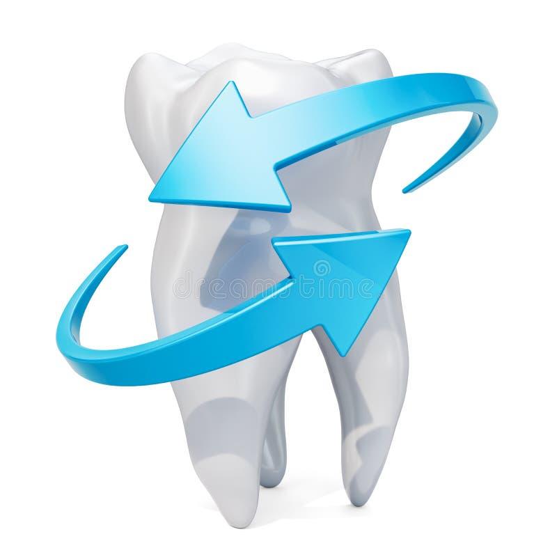 Dente com setas azuis Conceito da proteção dos dentes, rendição 3D ilustração royalty free
