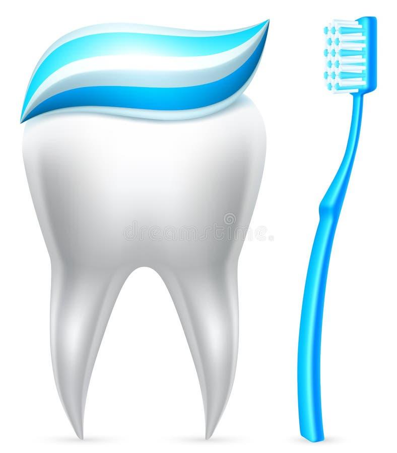 Dente con dentifricio in pasta e lo spazzolino da denti. royalty illustrazione gratis