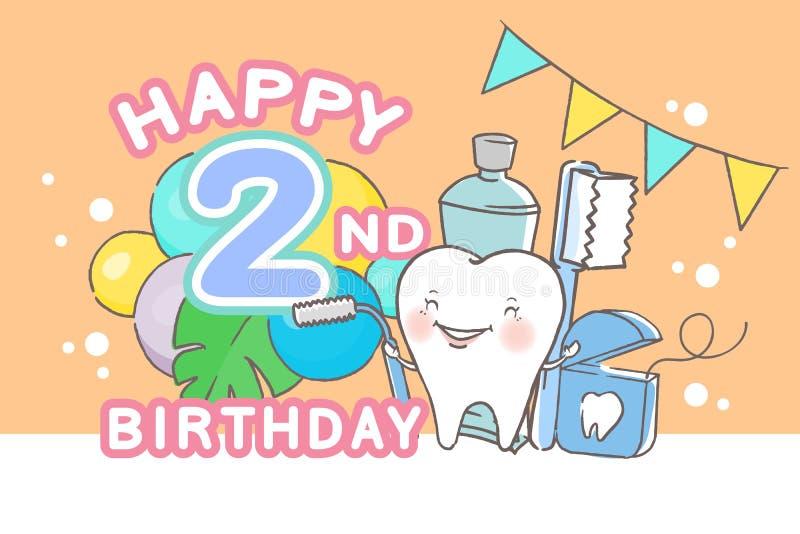 Dente con il buon compleanno illustrazione di stock