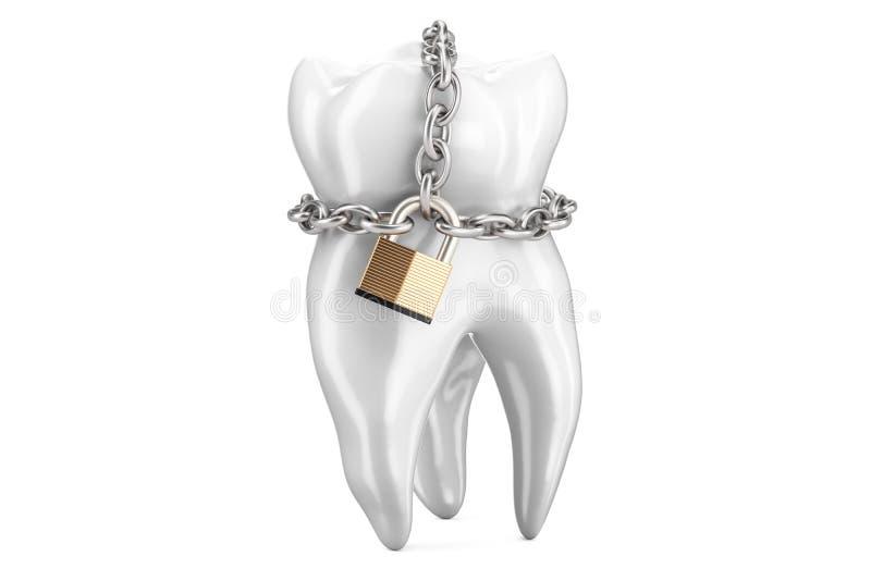 Dente con il lucchetto e la catena Concetto di protezione dei denti, rende 3D illustrazione vettoriale