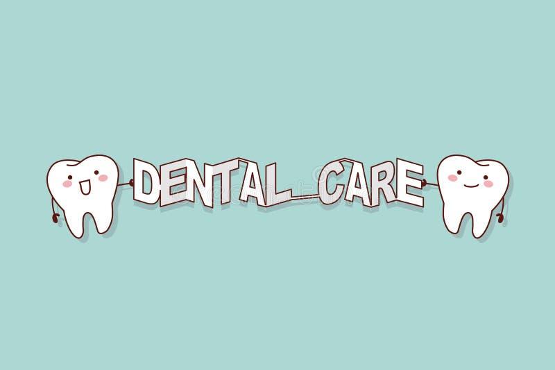 Dente con la parola di cure odontoiatriche illustrazione vettoriale