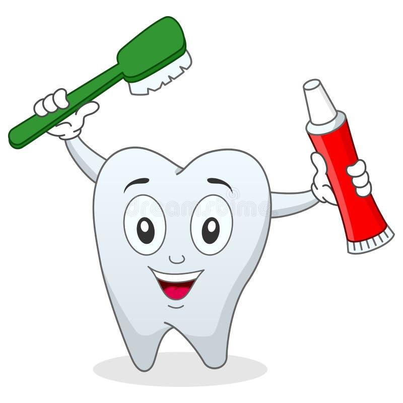Dente con lo spazzolino da denti & il dentifricio in pasta illustrazione vettoriale