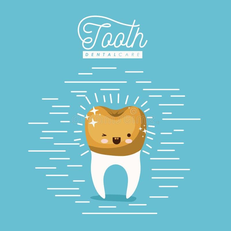 Dente da caricatura de Kawaii com cuidados dentários dourados da coroa com olho da piscadela e expressão da felicidade no cartaz  ilustração royalty free