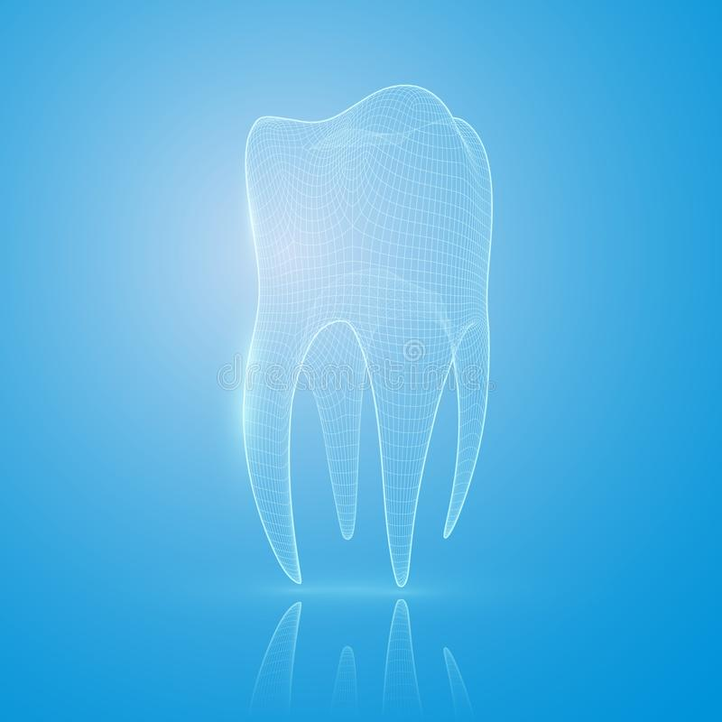 dente da malha 3D em um fundo azul ilustração royalty free