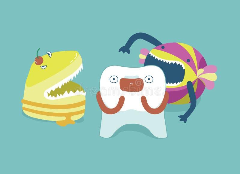 Dente da mordida dos doces do monstro, dentes e conceito do dente de dental ilustração stock