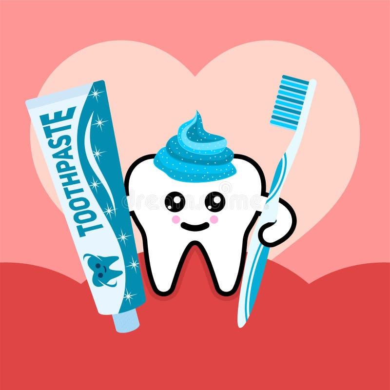 Dente da saúde com ilustração do vetor da escova de dentes e do dentífrico ilustração royalty free