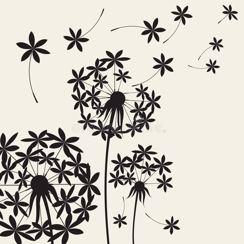 Dente-de-leão abstrato dos dentes-de-leão com as sementes do voo no vento ilustração royalty free