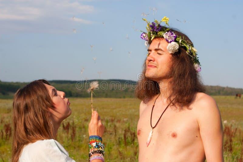 Dente-de-leão da semente do sopro da hippie fotografia de stock royalty free