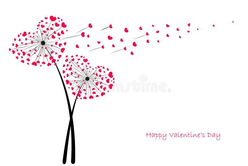 Dente-de-leão do amor do dia de Valentim com vetor vermelho do cartão dos corações ilustração do vetor