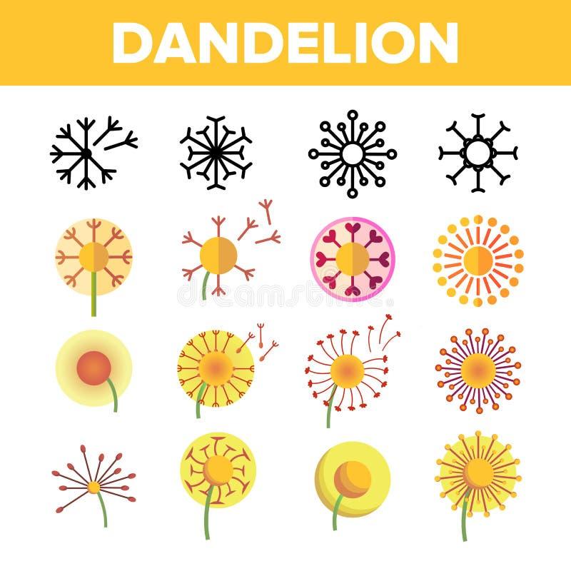Dente-de-leão, linha fina grupo do vetor da flor da mola dos ícones ilustração stock