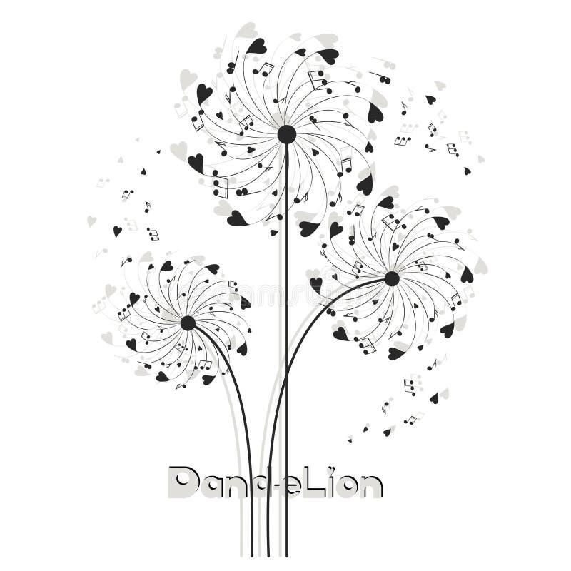 Dente-de-leão musical dos corações e das notas ilustração do vetor