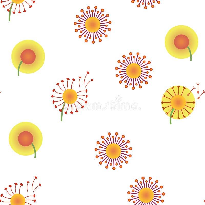 Dente-de-leão, teste padrão sem emenda do vetor da flor da mola ilustração royalty free