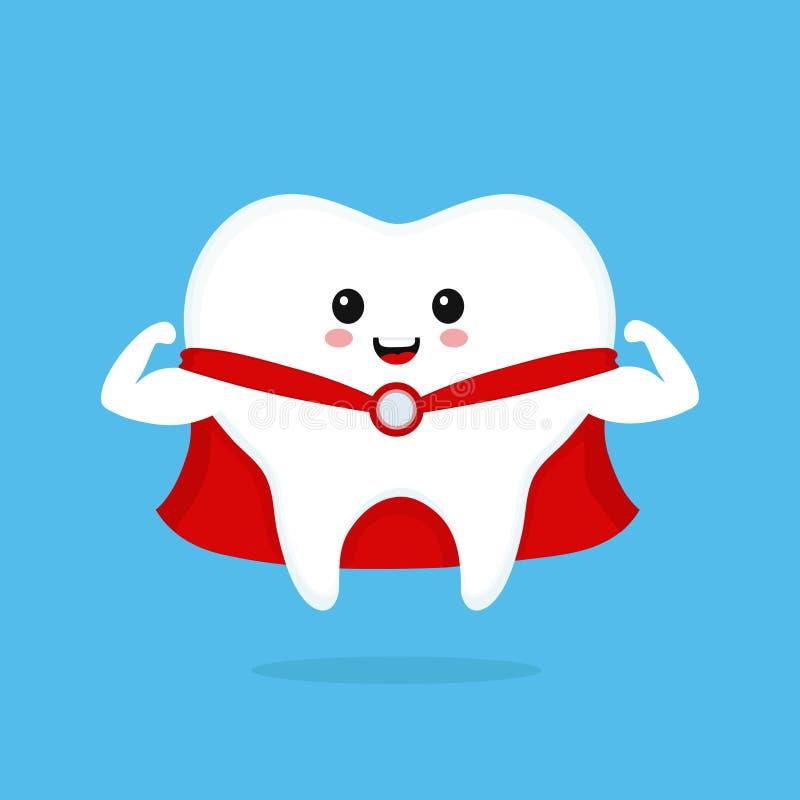 Dente de sorriso bonito engraçado do super-herói Vetor ilustração royalty free