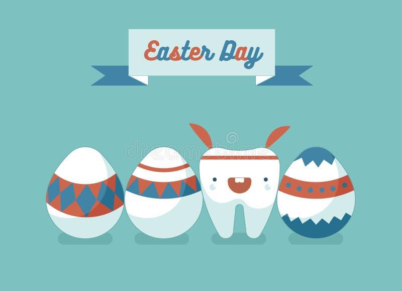 Dente del coniglietto ed uova del giorno di Pasqua illustrazione vettoriale