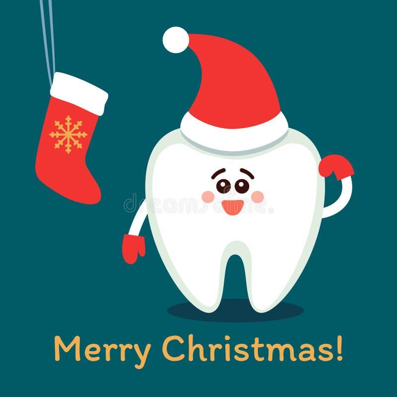 Dente del fumetto in cappello di Santa con un calzino Buon Natale! illustrazione di stock