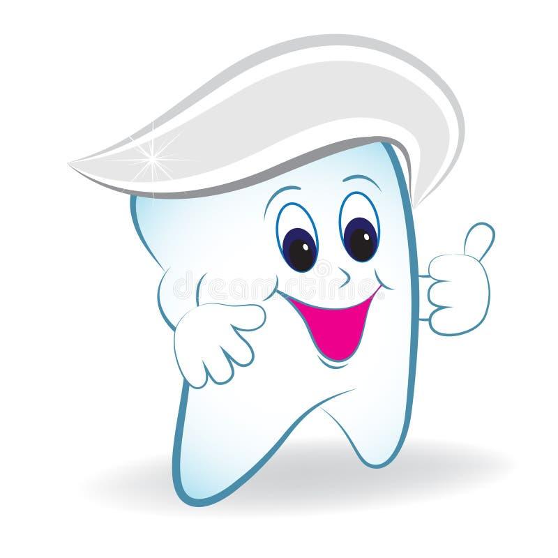 Dente del fumetto con il pollice ed il dentifricio in pasta. illustrazione vettoriale