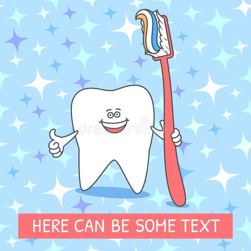 Dente del fumetto con uno spazzolino da denti e un dentifricio in pasta Dente sorridente Illustrazione dentaria sul modello senza illustrazione di stock