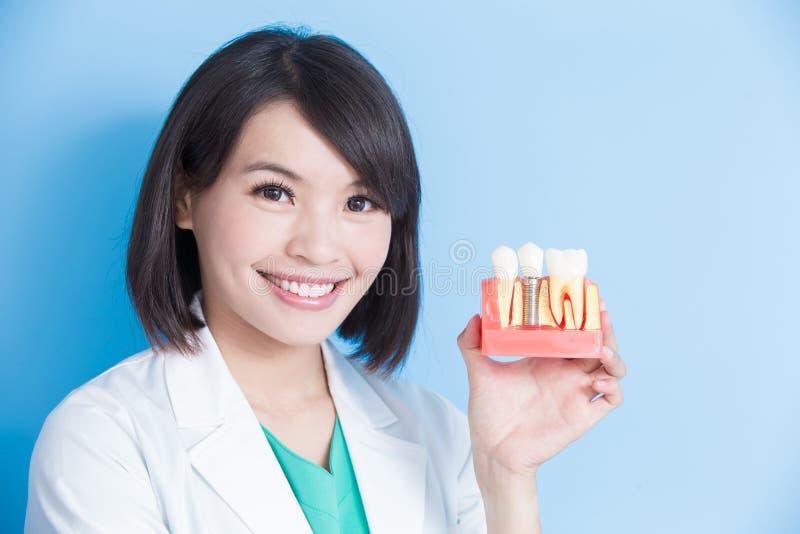 Dente dell'impianto della presa del dentista della donna fotografia stock