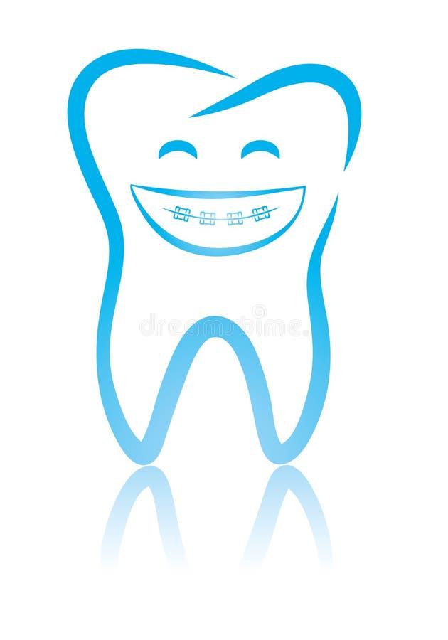 Dente dentale sorridente con le parentesi graffe illustrazione di stock