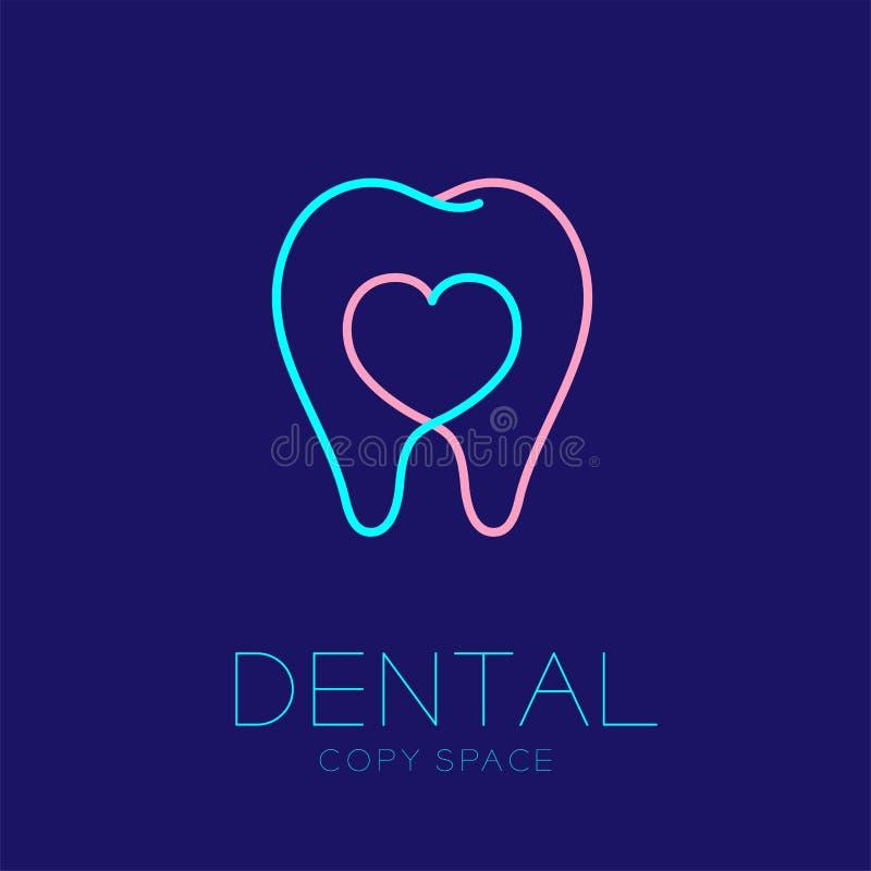 Dente dentario dell'icona di logo della clinica con l'illustrazione di progettazione del colpo del profilo del segno del cuore illustrazione vettoriale