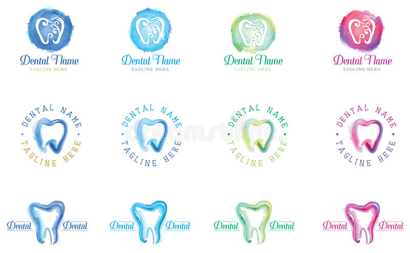 Dente dentario Logo Template dell'acquerello illustrazione di stock