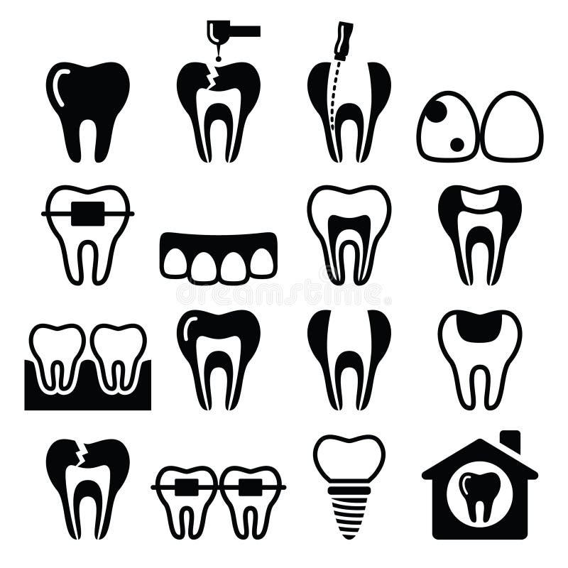 Dente, dentes, ícones dentais da clínica ajustados ilustração stock
