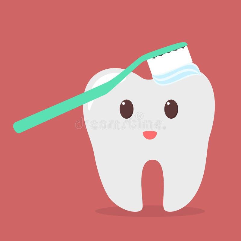 Dente di pulizia dello spazzolino da denti Idea di igiene orale royalty illustrazione gratis