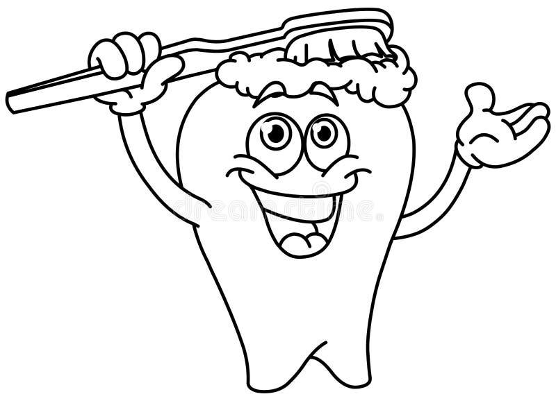 Dente di spazzolatura Outlined illustrazione vettoriale