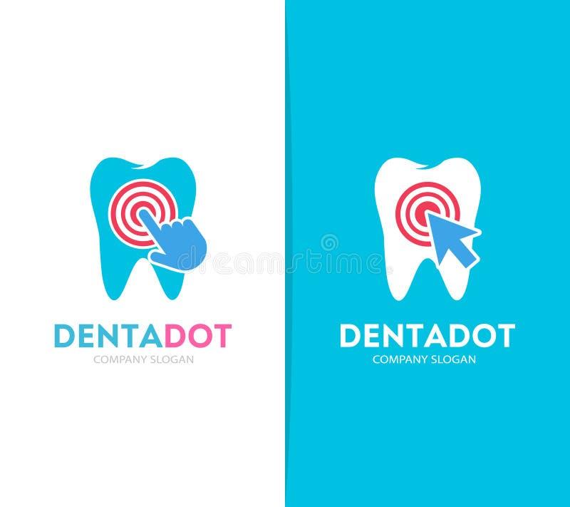 Dente di vettore e combinazione di logo di clic Clinica dentaria e simbolo o icona del cursore Ammaccatura unica e logotype medic royalty illustrazione gratis