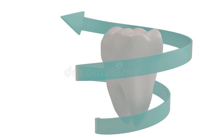 Dente do conceito da proteção do dente e ilustração da seta 3D da espiral ilustração do vetor
