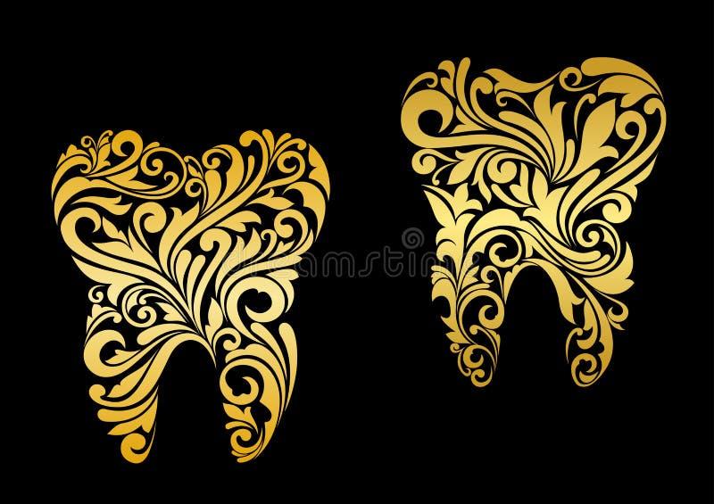 Dente dorato nello stile floreale illustrazione di stock