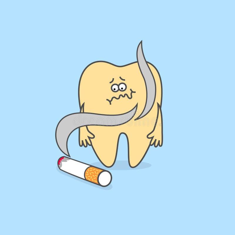 Dente dos desenhos animados com cigarro Conceito dos cuidados dentários ilustração do vetor