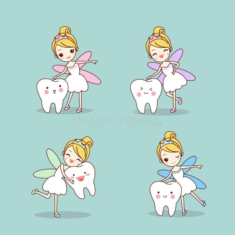 Dente dos desenhos animados com fada de dente ilustração do vetor