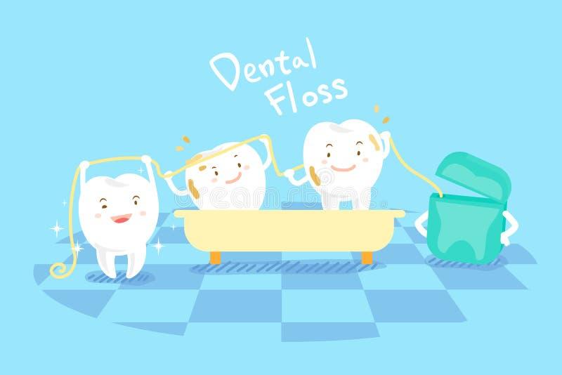 Dente dos desenhos animados com fio dental ilustração do vetor
