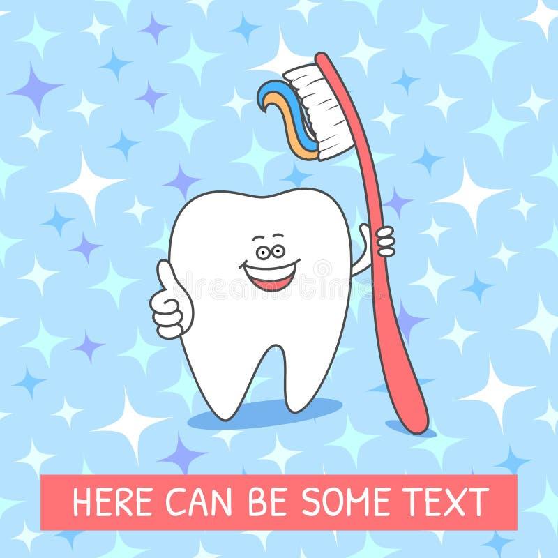Dente dos desenhos animados com uma escova de dentes e um dent?frico Ilustra??o dental no teste padr?o sem emenda com sparkles ilustração stock