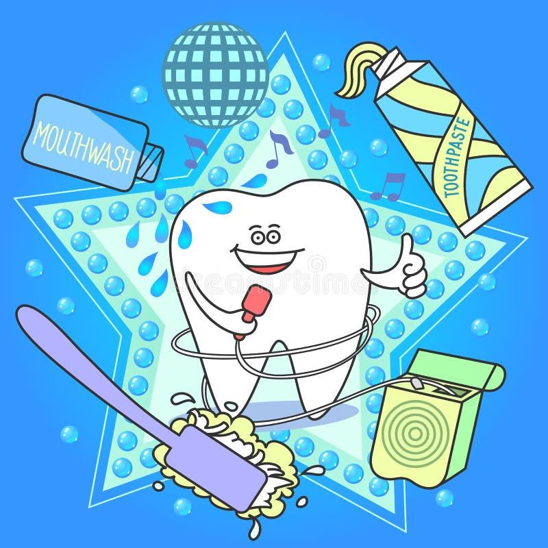 Dente dos desenhos animados com uma escova de dentes, um dentífrico, um floss e um colutório ilustração royalty free