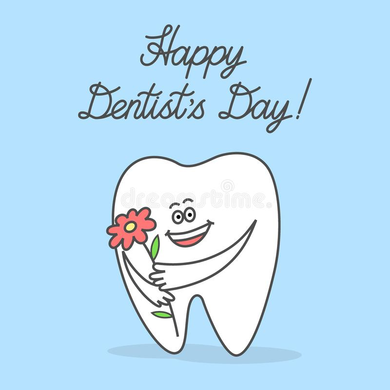 Dente dos desenhos animados que guarda uma flor e que deseja o dia de um dentista feliz ilustração stock
