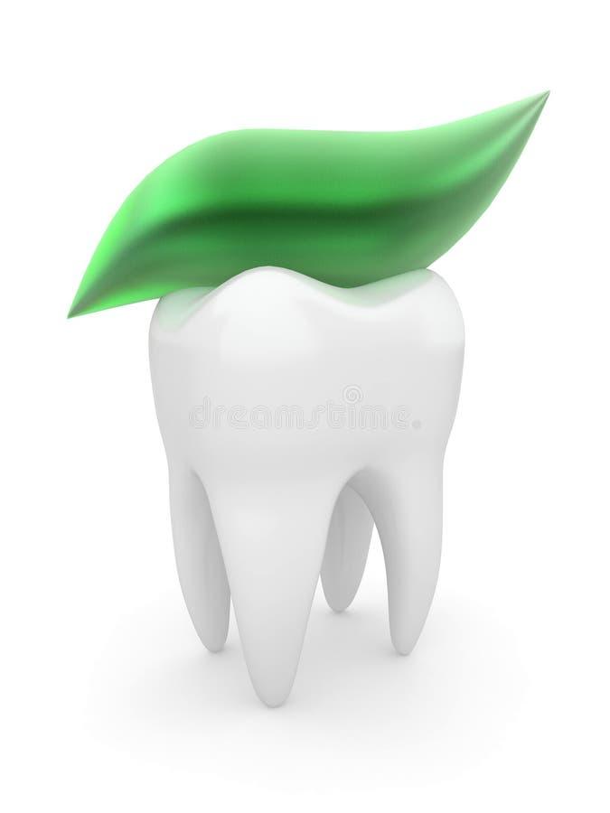 Dente e dentifricio in pasta. 3d illustrazione di stock