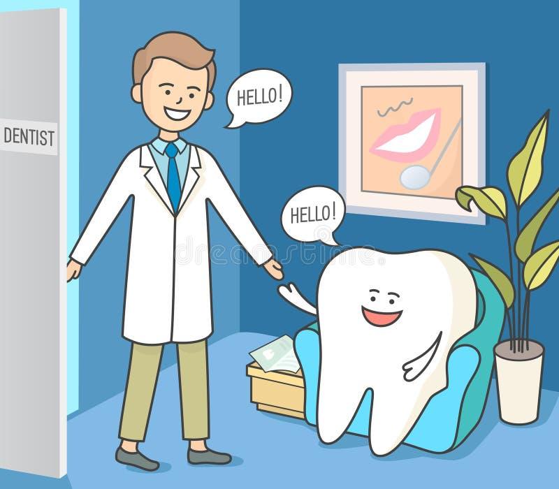 Dente e dentista dos desenhos animados na recepção da odontologia Sala de espera dental acolhedor fotos de stock royalty free