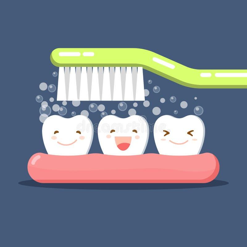 Dente e escova de dentes bonitos felizes dos desenhos animados Dentes de escovadela O dentífrico borbulha espuma Higiene oral Cui ilustração do vetor