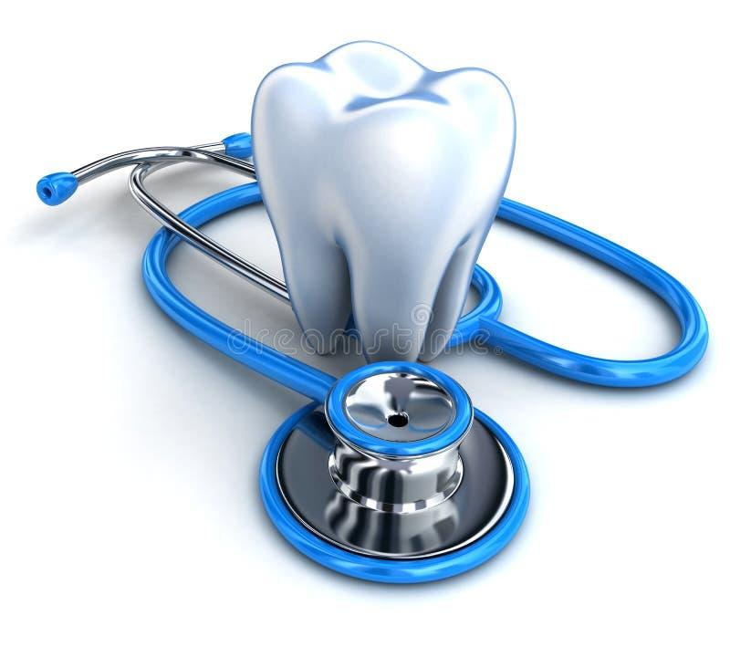 Dente e stetoscopio illustrazione vettoriale