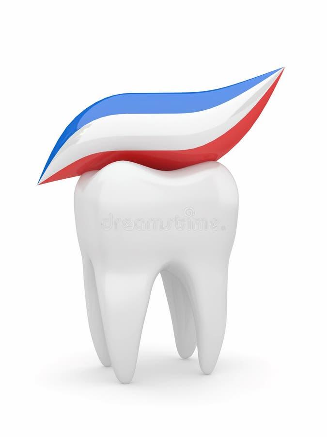 Dente e tooth-paste. 3d ilustração royalty free