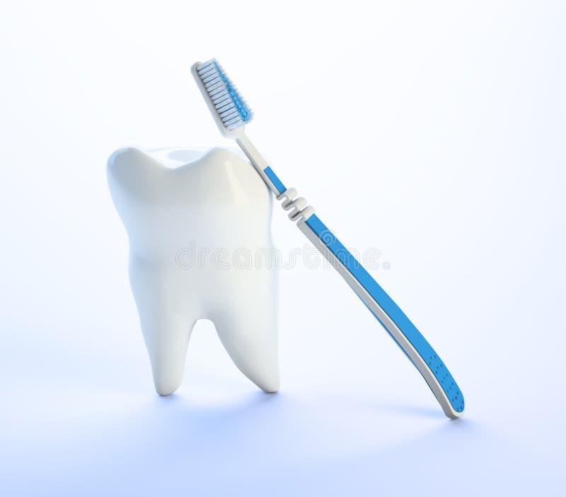 Dente e um toothbrush ilustração stock