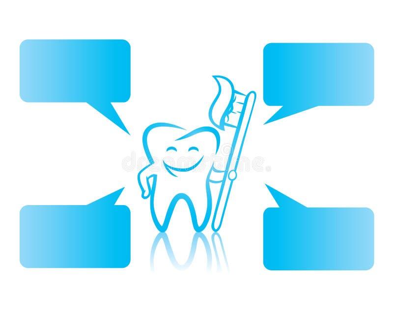 Dente feliz com toothbrush ilustração do vetor