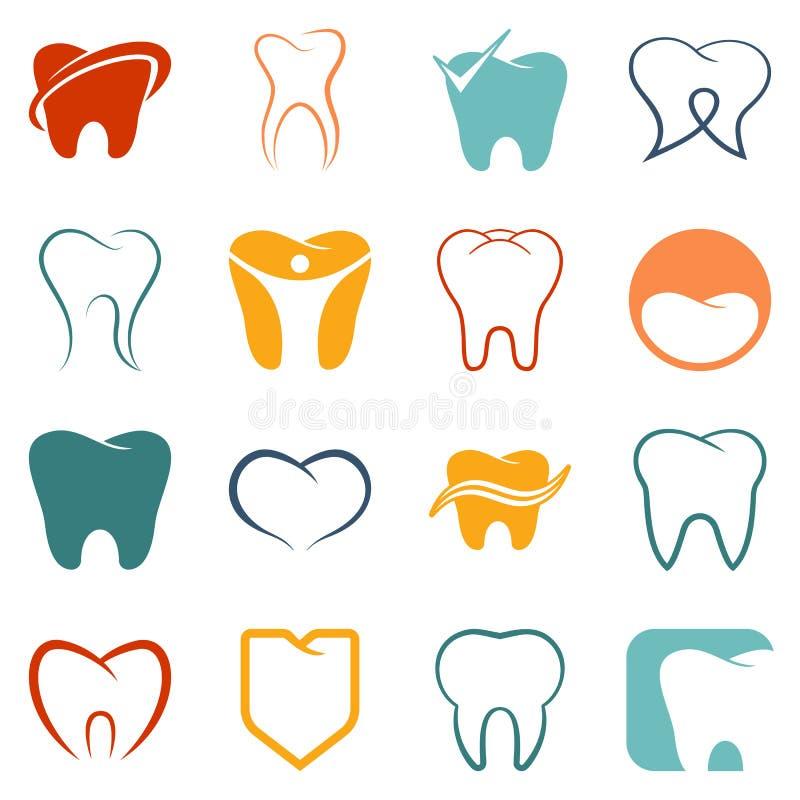 Dente, icone di vettore dei denti messe royalty illustrazione gratis