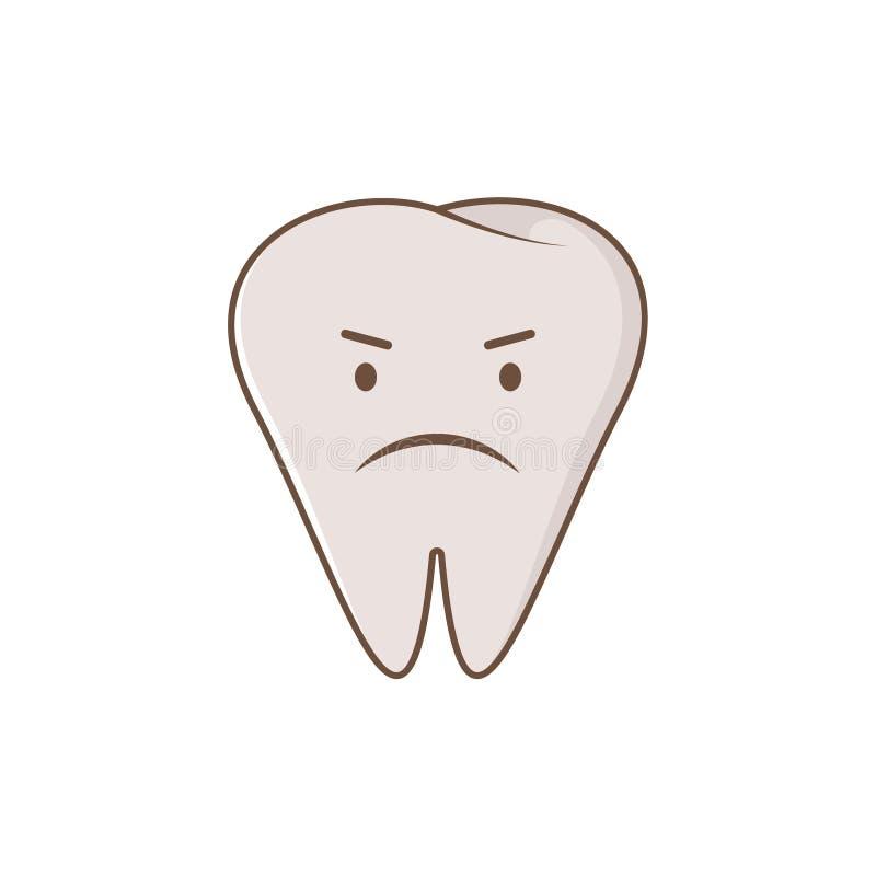Dente imbronciato sveglio Illustrazione piana moderna del personaggio dei cartoni animati di stile di vettore Ammaccatura dentari illustrazione vettoriale