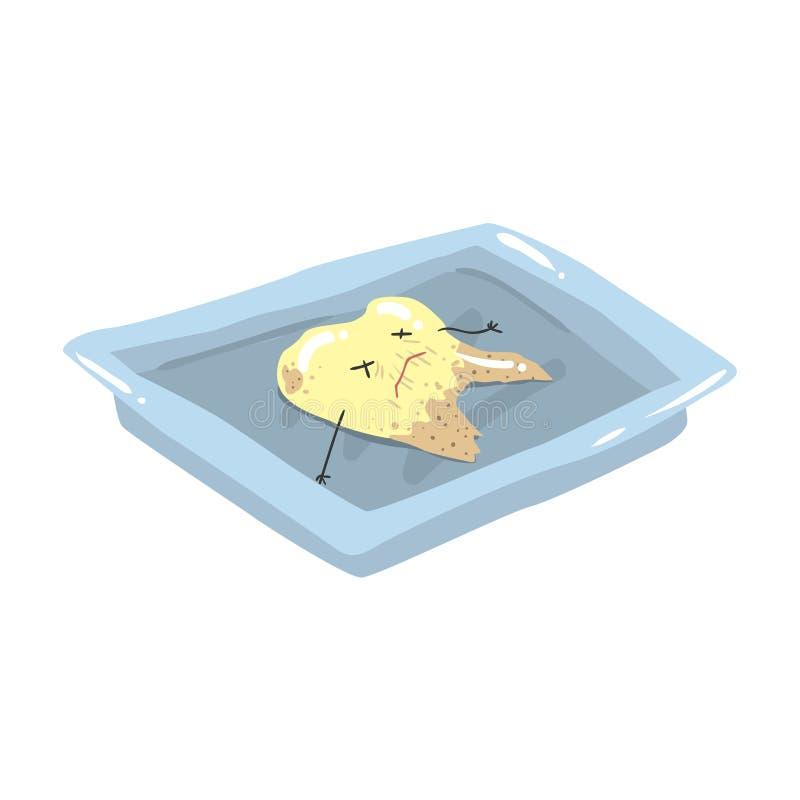 Dente inoperante extraído engraçado que encontra-se em uma ilustração de aço do vetor dos desenhos animados da bandeja ilustração do vetor