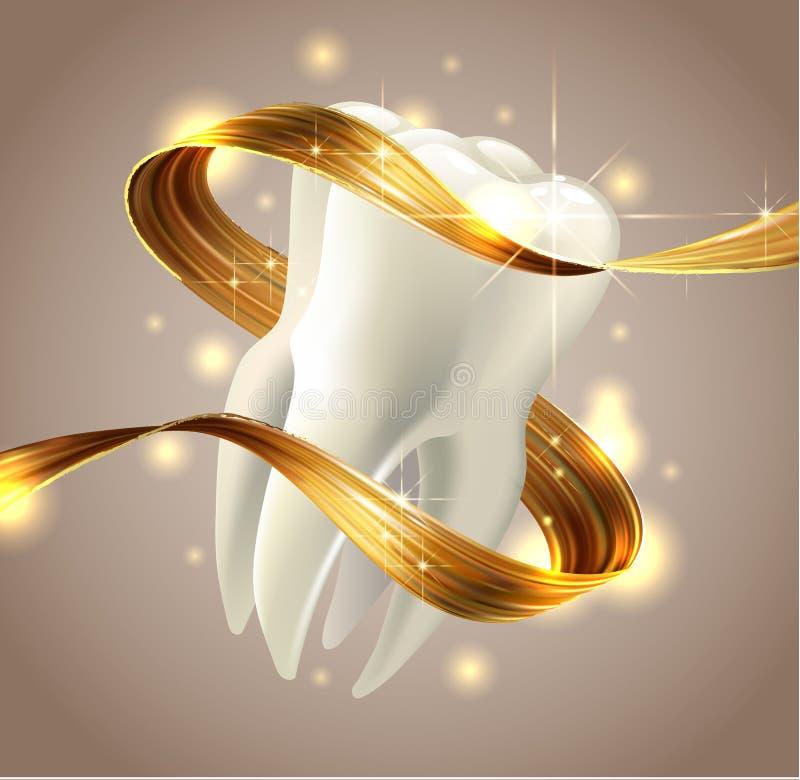 Dente isolado no fundo branco 3d rendem Dental, medicina, conceito da saúde ilustração royalty free